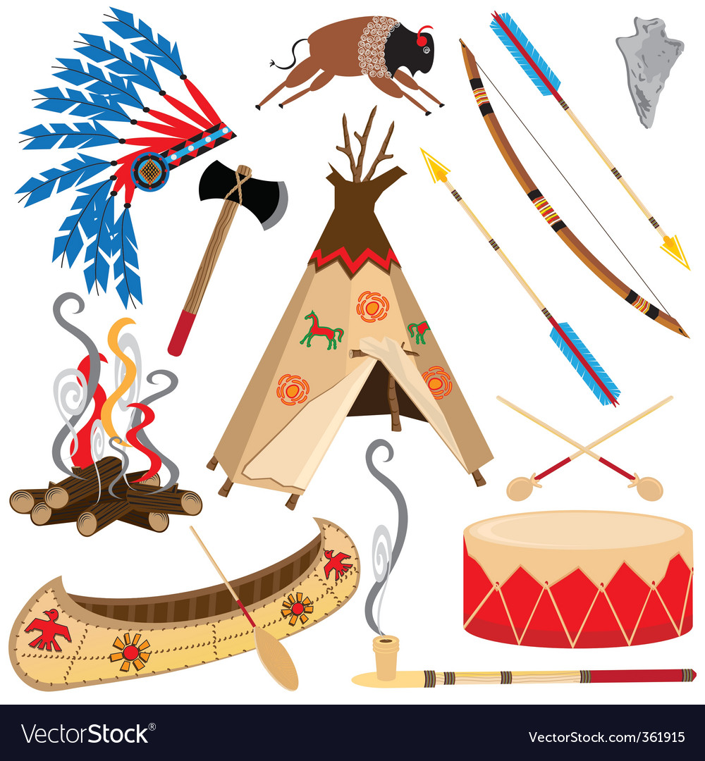 American indian clipart icons vector | Price: 3 Credit (USD $3)