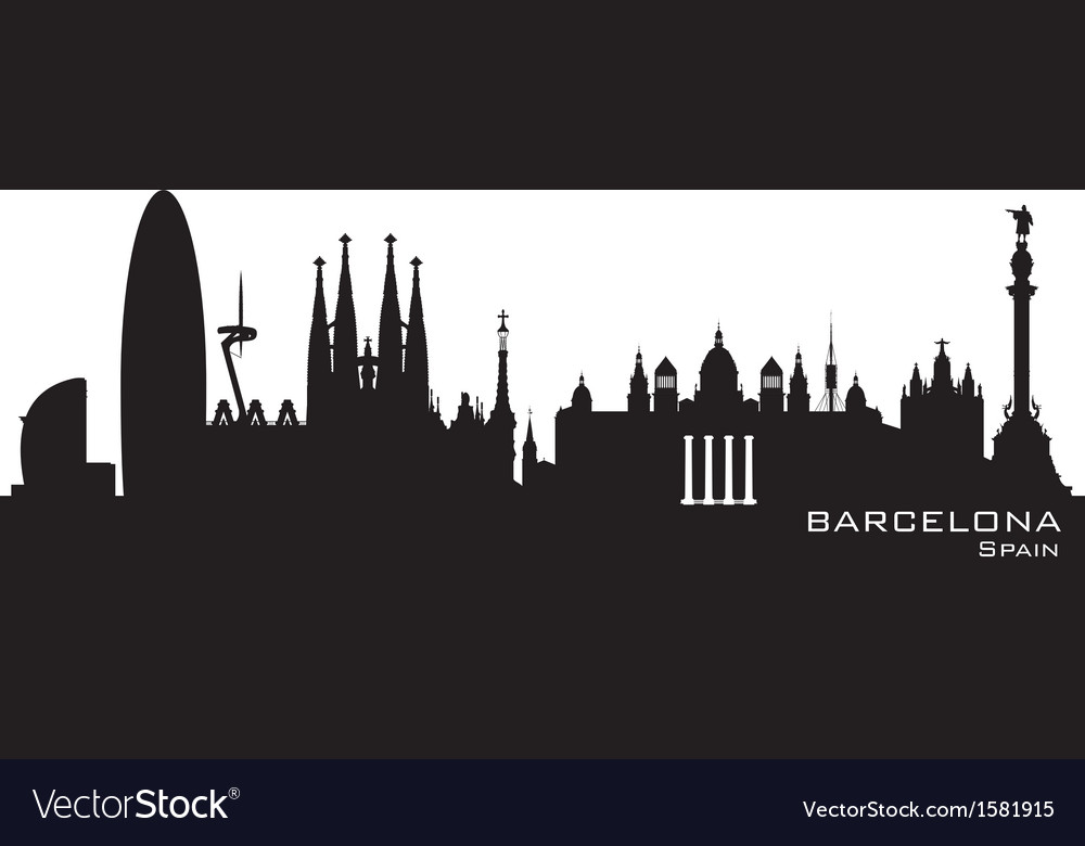 Barcelona spain skyline detailed silhouette vector | Price: 1 Credit (USD $1)