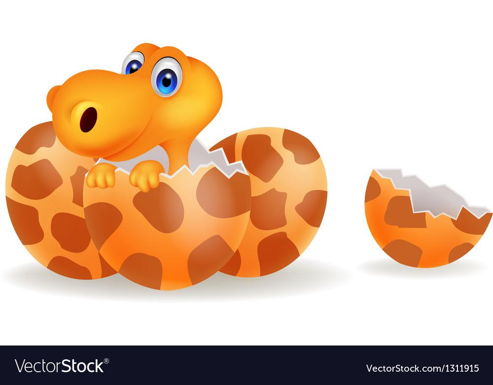 Cartoon of a baby dinosaur hatching vector   Price: 1 Credit (USD $1)