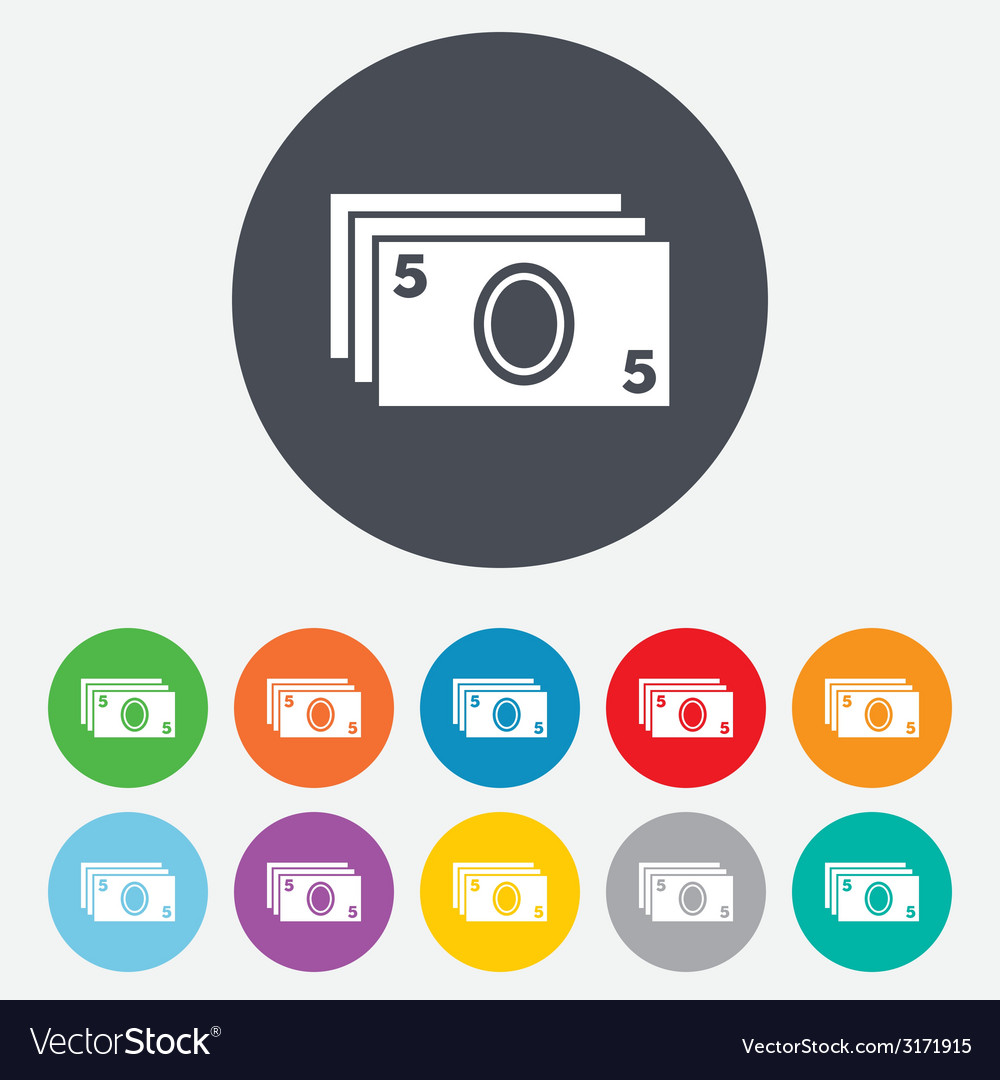 Cash sign icon paper money symbol vector | Price: 1 Credit (USD $1)