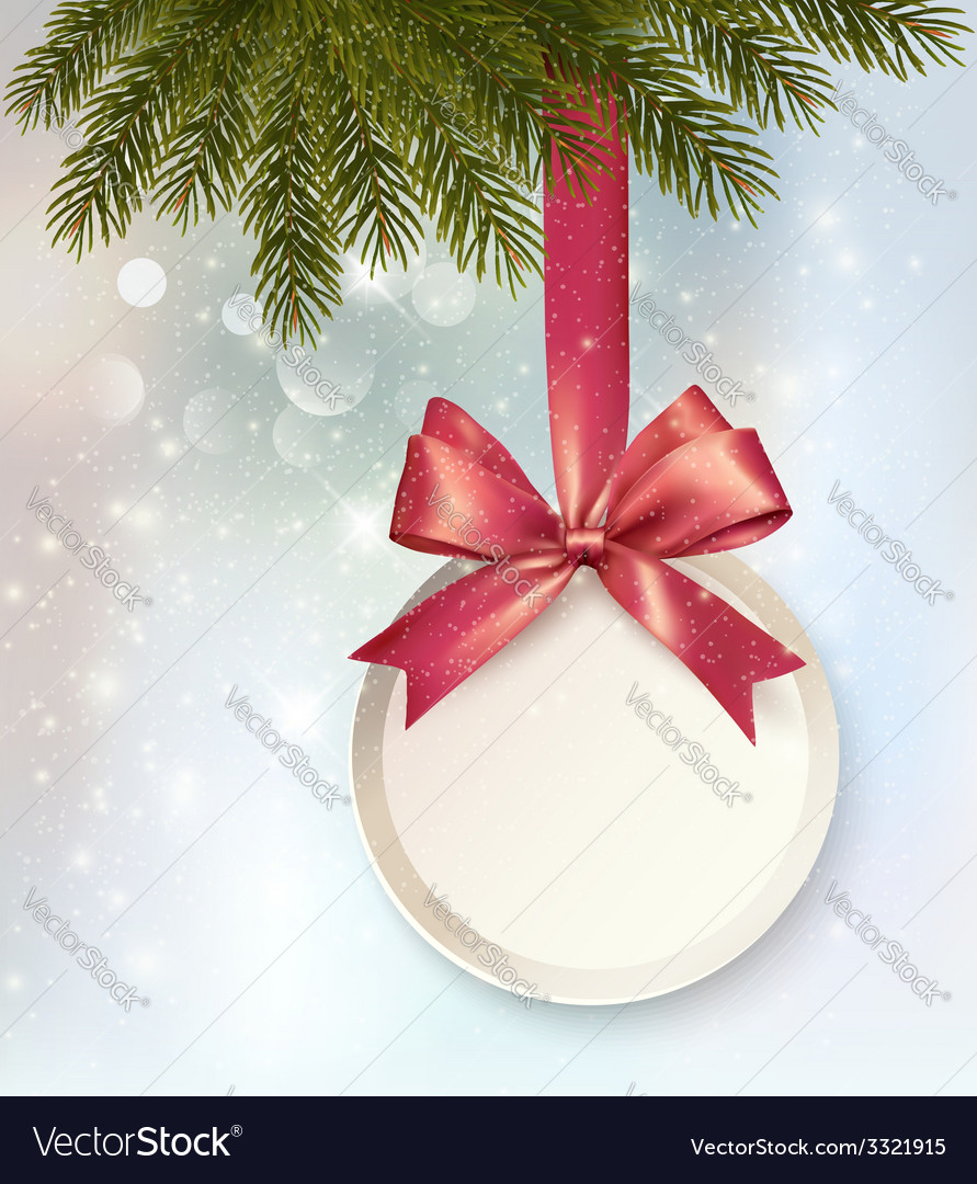 Christmas background with a label and a bow vector | Price: 3 Credit (USD $3)
