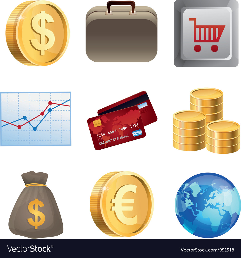 Collection with bright finance icons vector | Price: 3 Credit (USD $3)