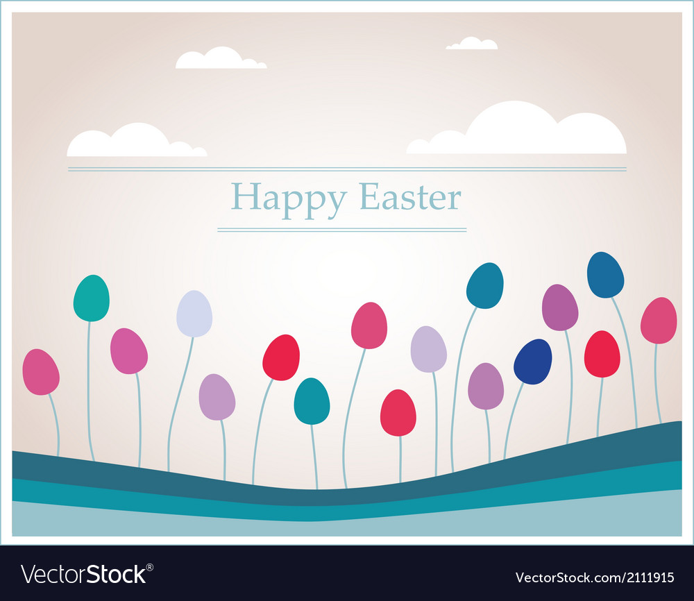 Easter eggs that looks like flowers in retro vector | Price: 1 Credit (USD $1)