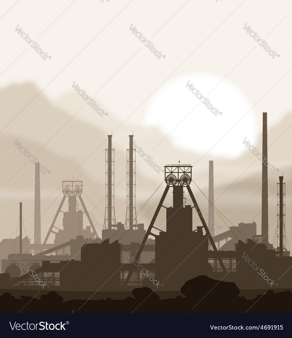 Fertilizers plant over blurred huge mountains vector | Price: 1 Credit (USD $1)