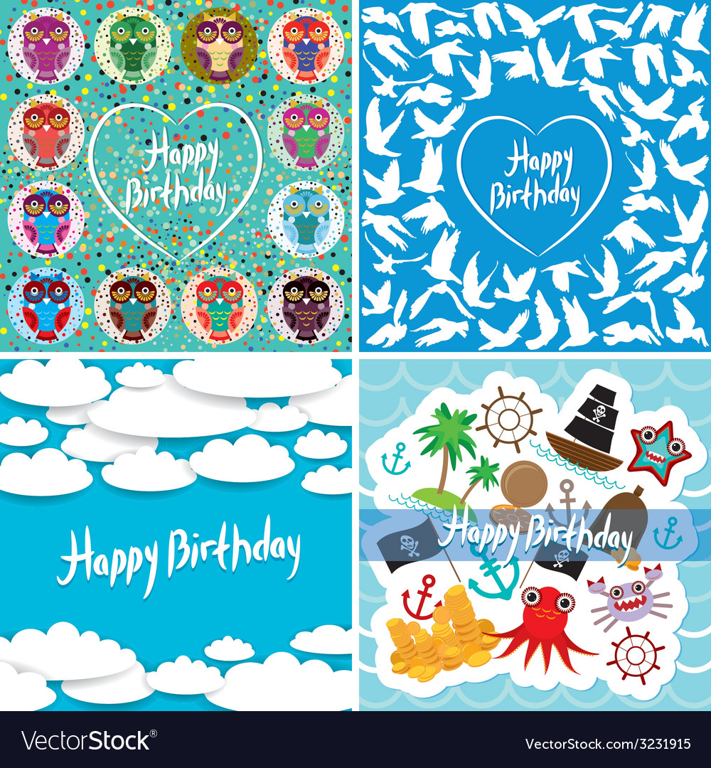 Funny colorful happy birthday card set vector   Price: 1 Credit (USD $1)