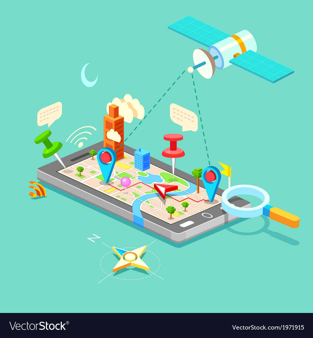 Navigation in mobile phone vector | Price: 1 Credit (USD $1)