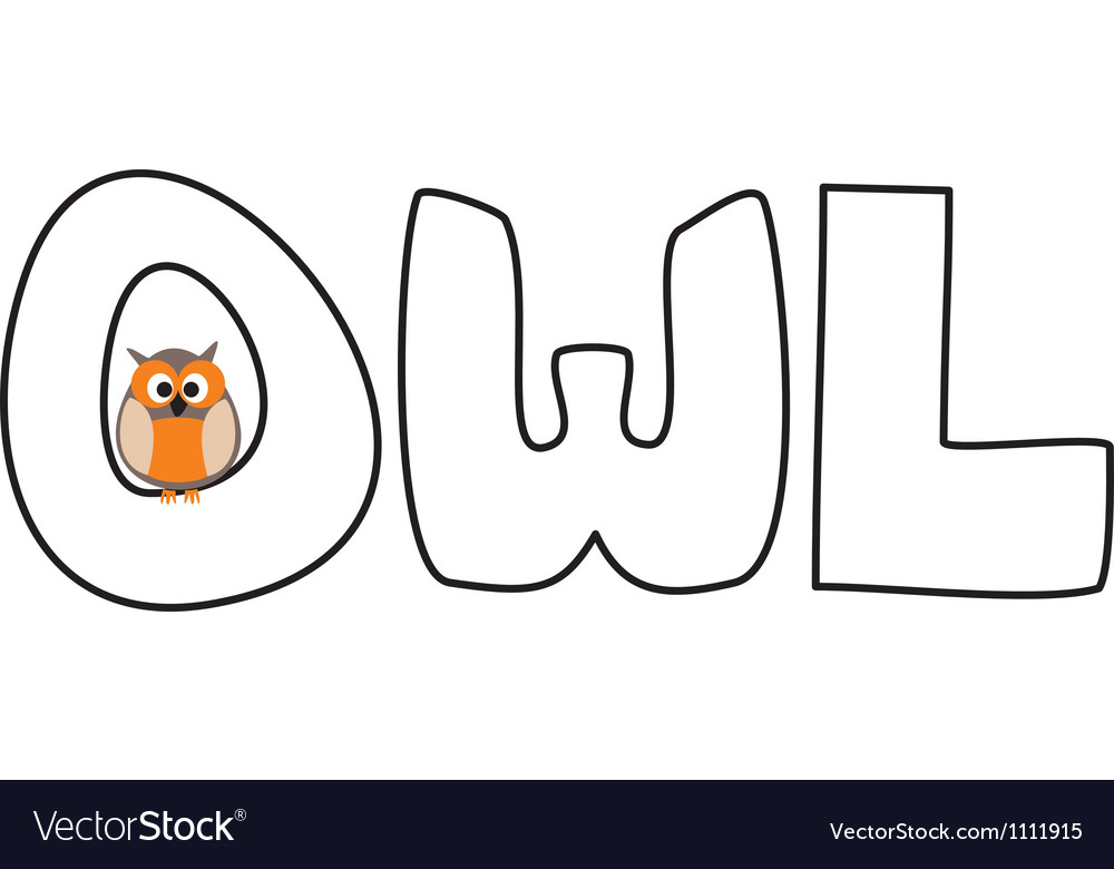 O is for owl - with funny staring owl vector | Price: 1 Credit (USD $1)