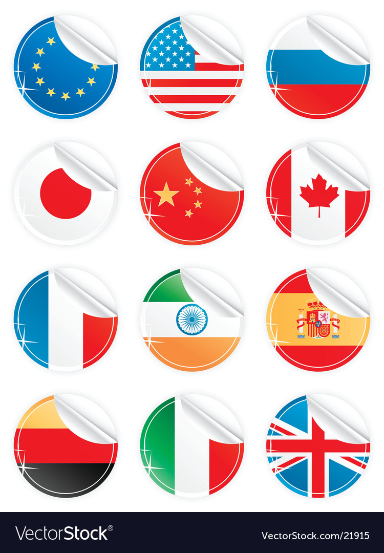 Shiny peeling national icons vector | Price: 3 Credit (USD $3)