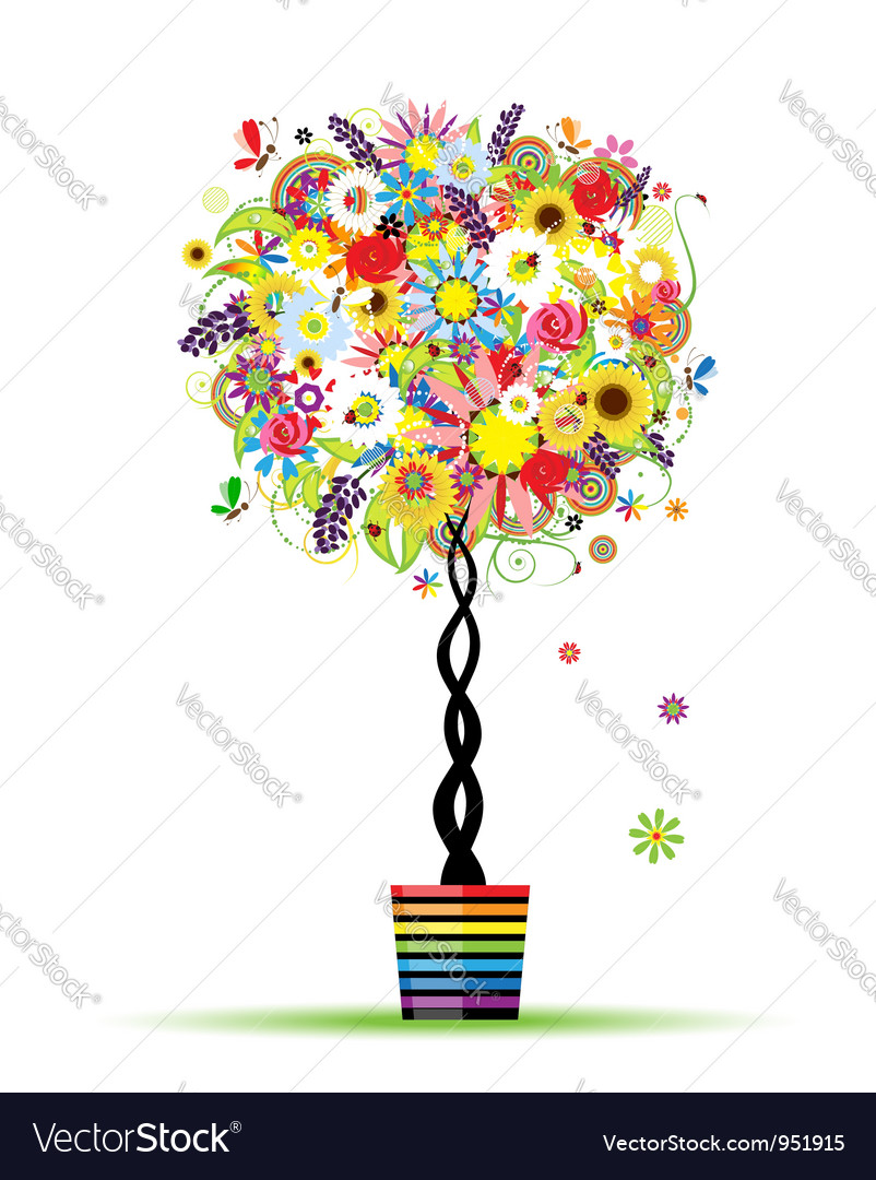 Summer floral tree in pot for your design vector | Price: 1 Credit (USD $1)