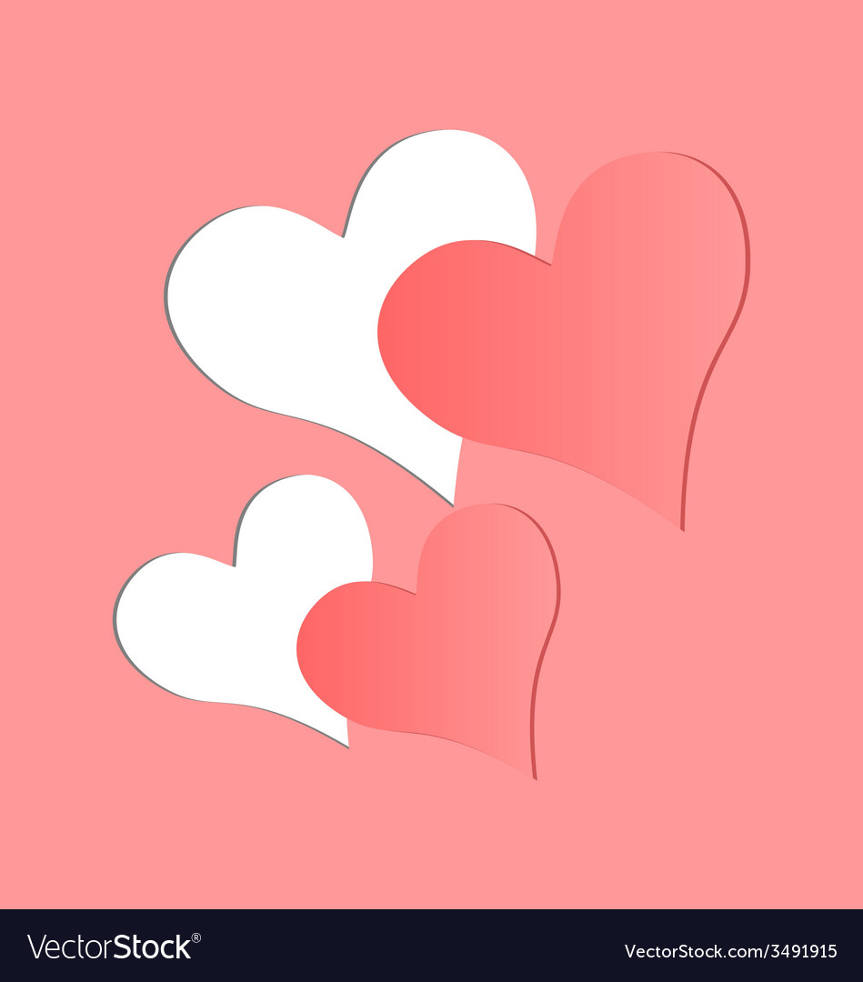 Two pink hearts cutted in paper vector | Price: 1 Credit (USD $1)