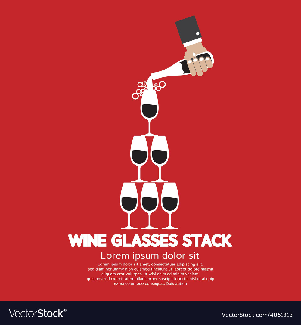 Wine glasses stack on red background vector | Price: 1 Credit (USD $1)