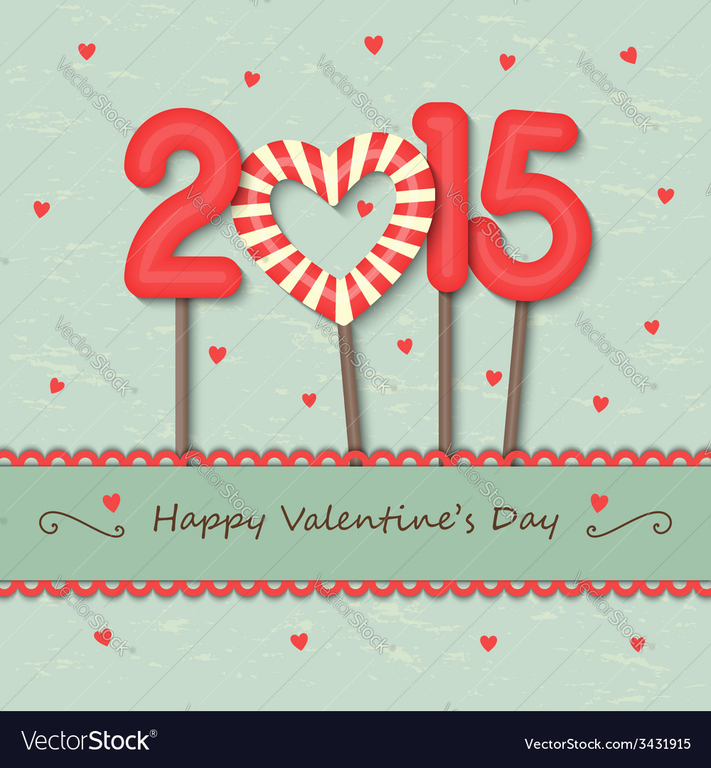Year 2015 and heart candy background vector | Price: 1 Credit (USD $1)