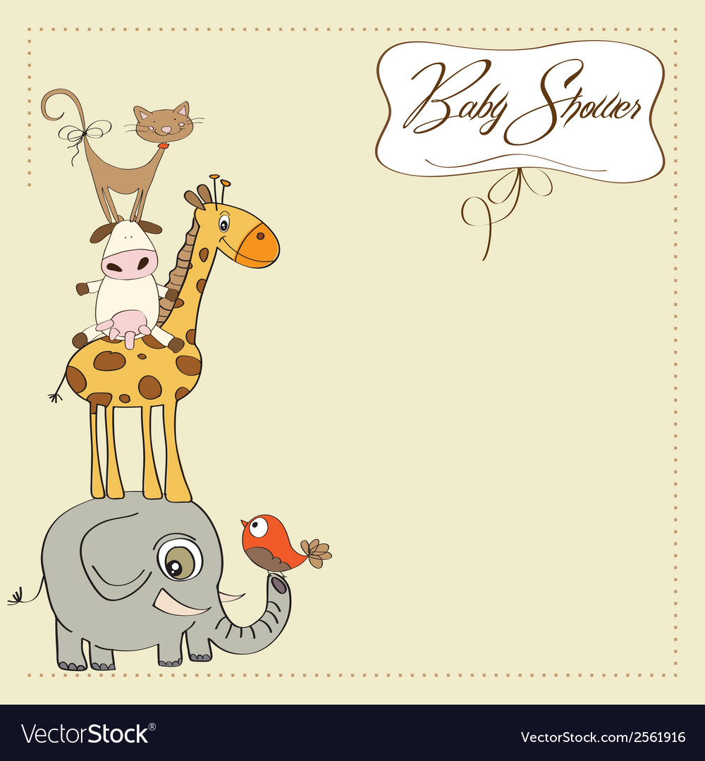 Baby shower card with funny pyramid of animals vector | Price: 1 Credit (USD $1)