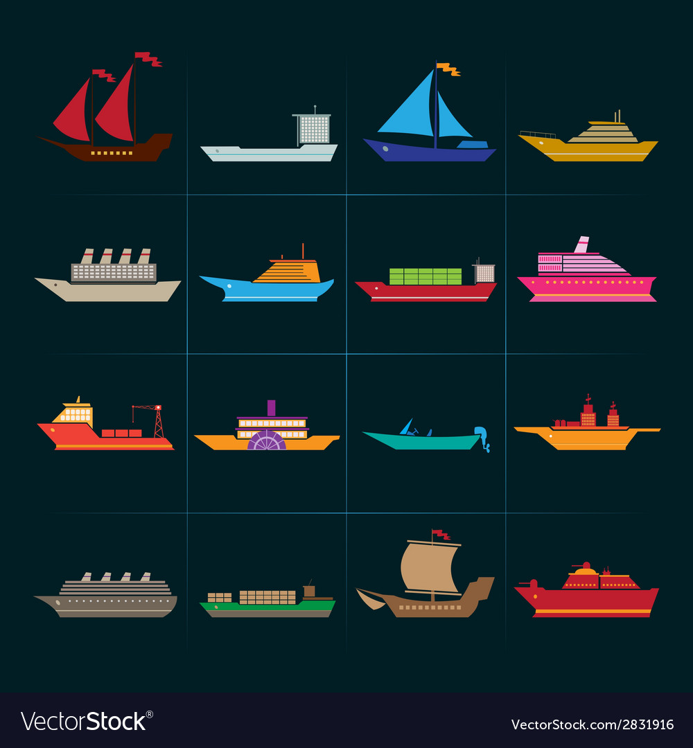 Ship and boats icons set vector | Price: 1 Credit (USD $1)
