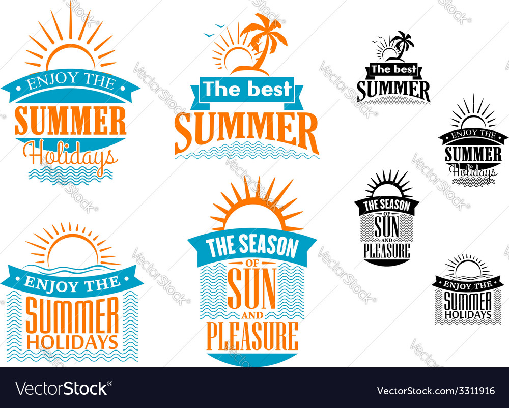 Summer vacation and travel designs vector | Price: 1 Credit (USD $1)