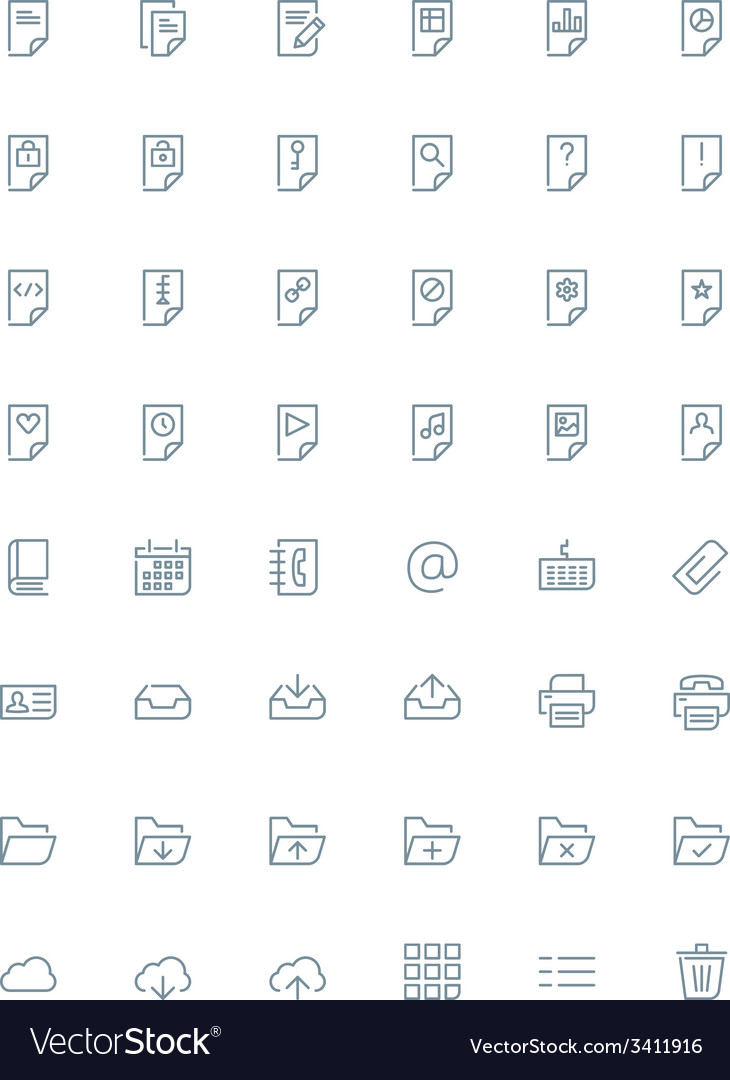 Thin line document icons set for web and mobile vector | Price: 1 Credit (USD $1)