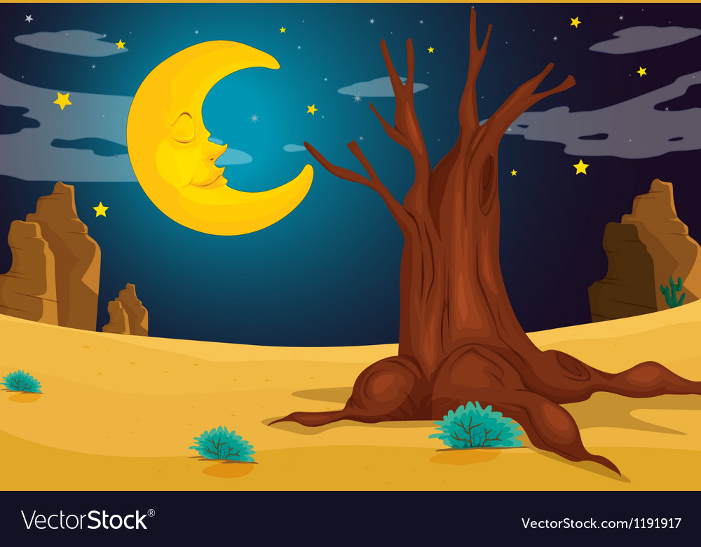 A moonlight evening vector | Price: 1 Credit (USD $1)