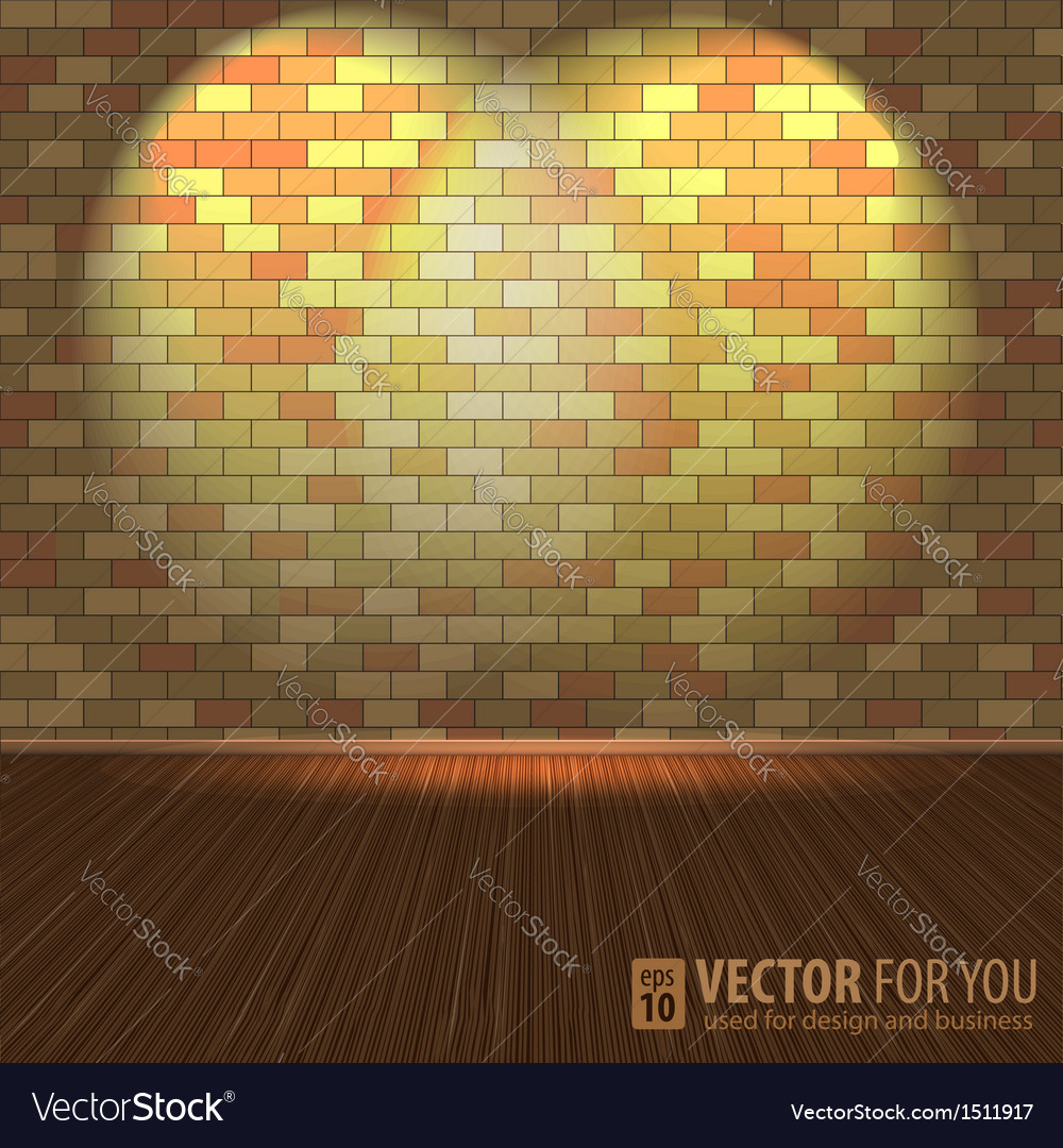 Brick wall with lighting and wooden floors vector | Price: 1 Credit (USD $1)