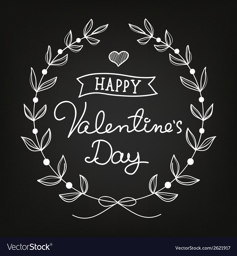 Chalk art valentines day card vector | Price: 1 Credit (USD $1)