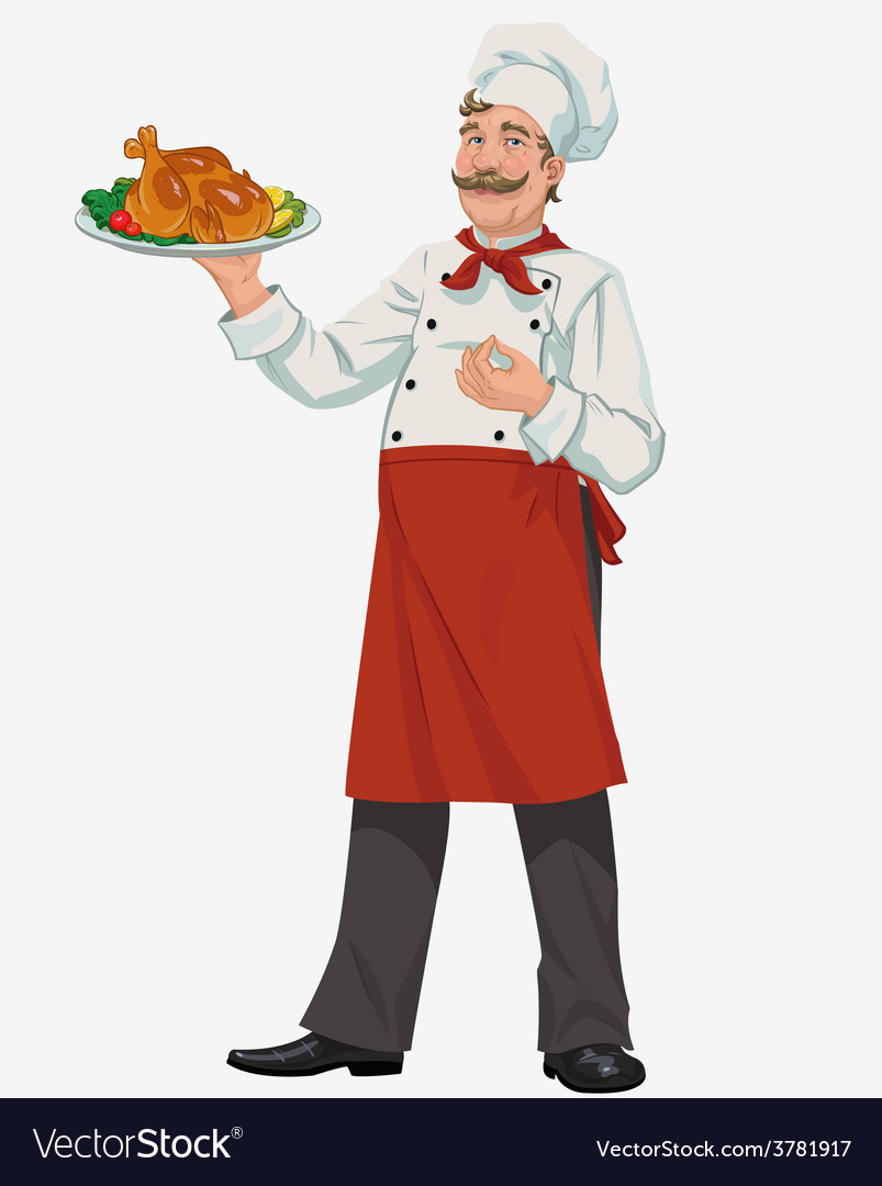 Chef with chicken vector | Price: 3 Credit (USD $3)