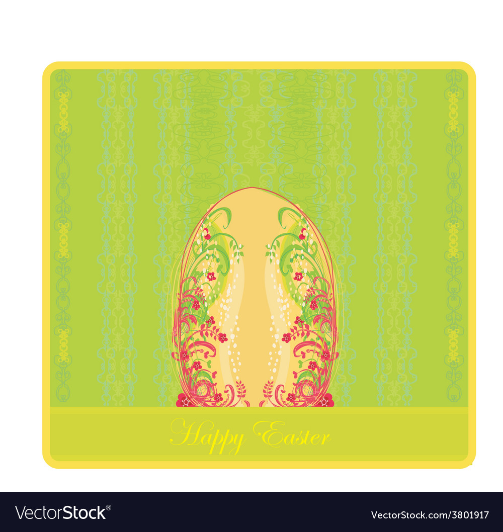 Easter greeting card with decorative egg vector | Price: 1 Credit (USD $1)