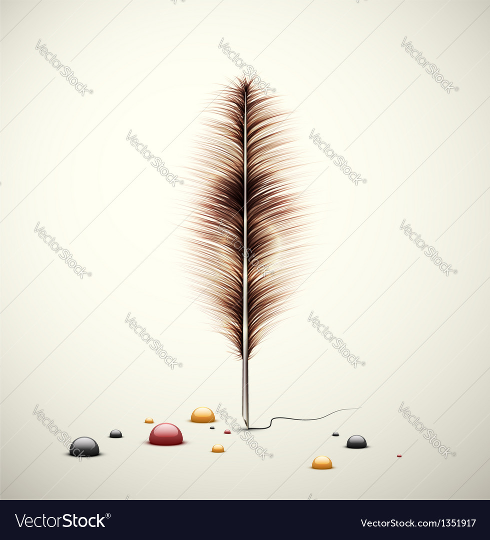 Feather with ink vector | Price: 3 Credit (USD $3)