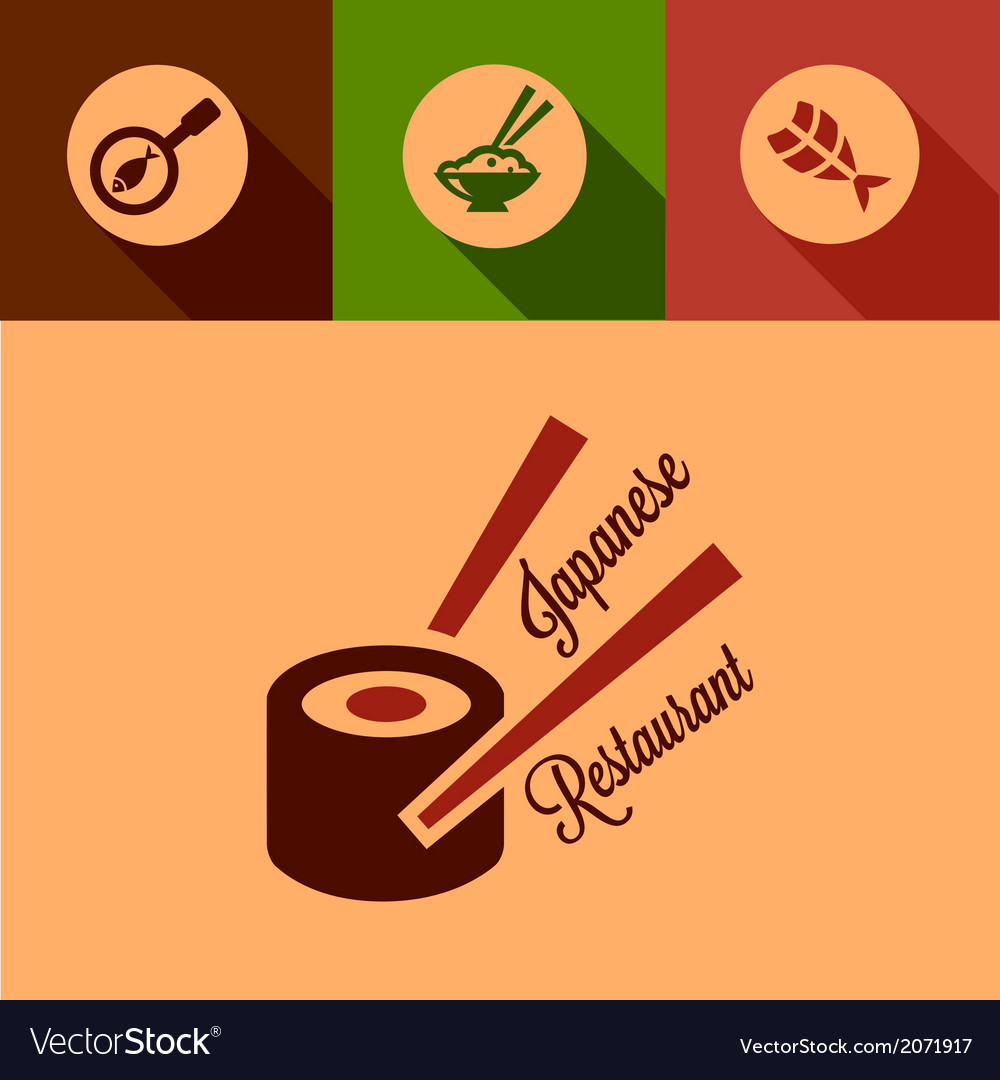 Flat japanese restaurant icons vector | Price: 1 Credit (USD $1)