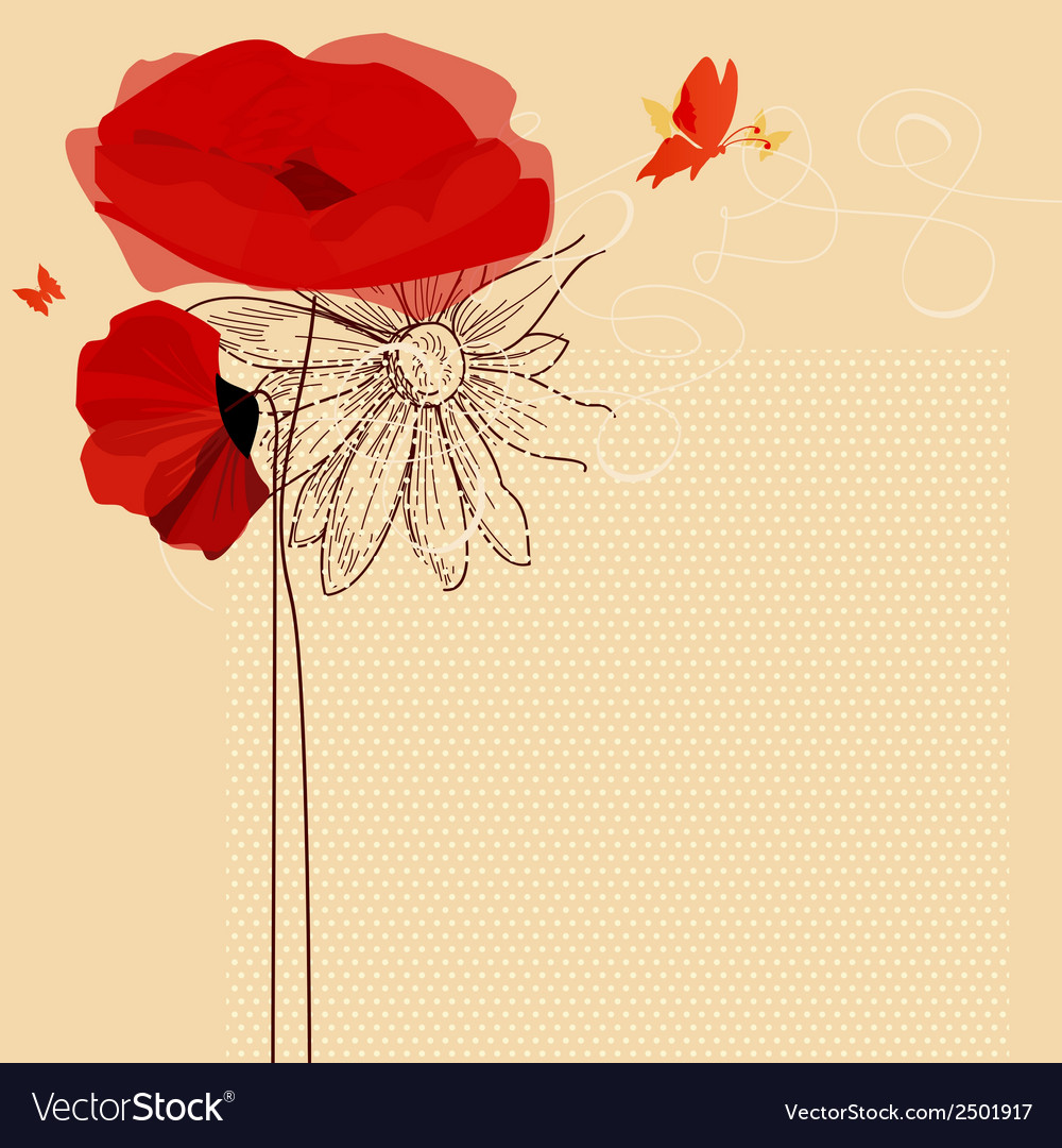 Floral invitation poppies and butterfly vector | Price: 1 Credit (USD $1)