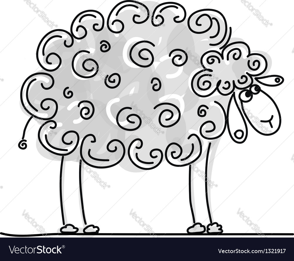 Funny grey sheep sketch for your design vector | Price: 1 Credit (USD $1)