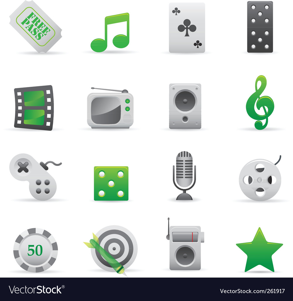 Green entertainment icons vector | Price: 1 Credit (USD $1)