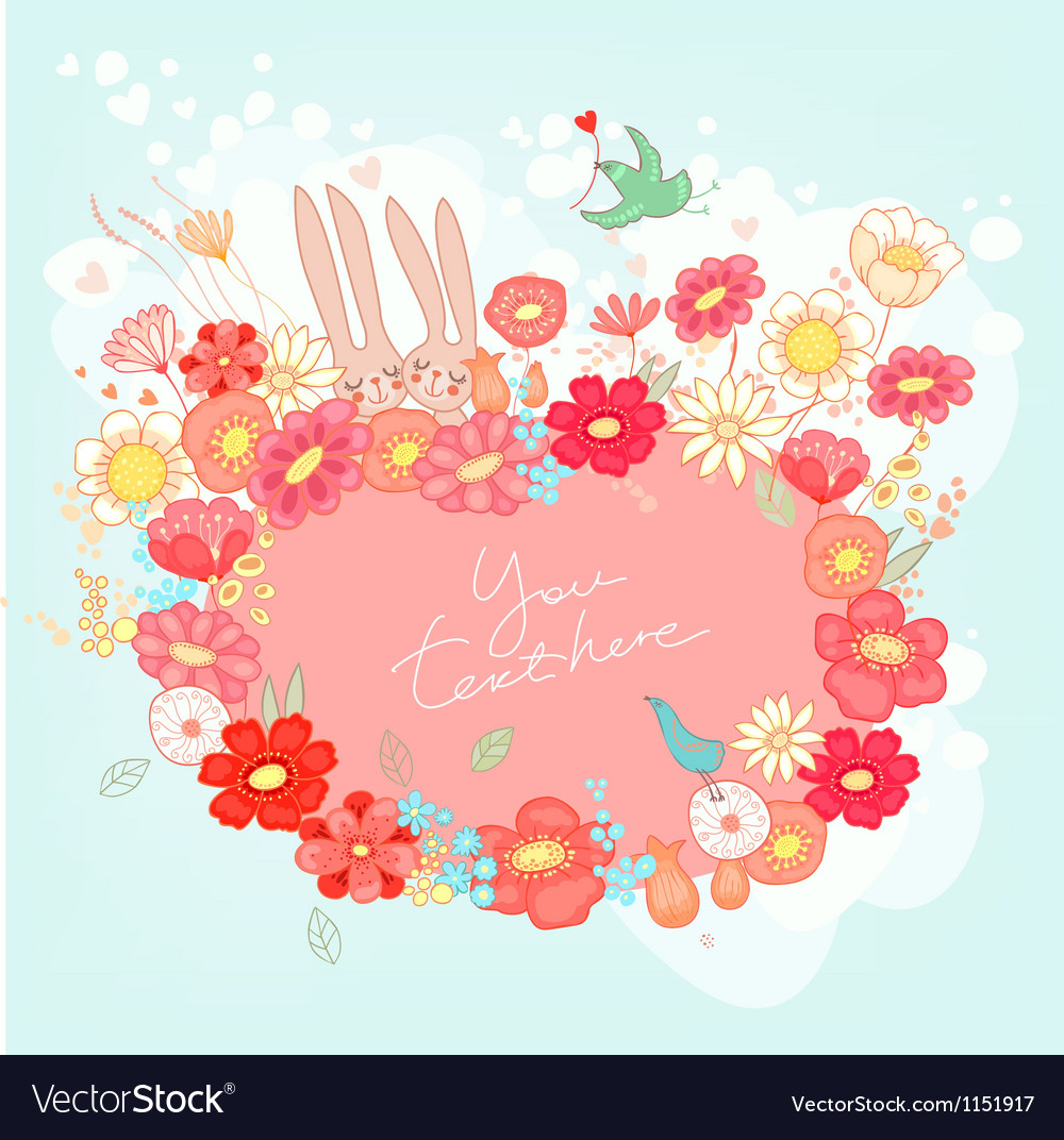 Greeting card with bunny vector | Price: 3 Credit (USD $3)