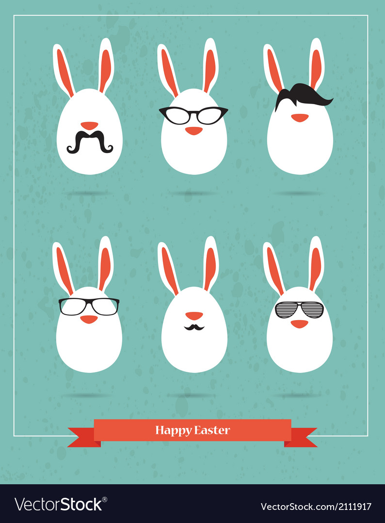 Happy hipster easter - set of stylish bunny icons vector | Price: 1 Credit (USD $1)