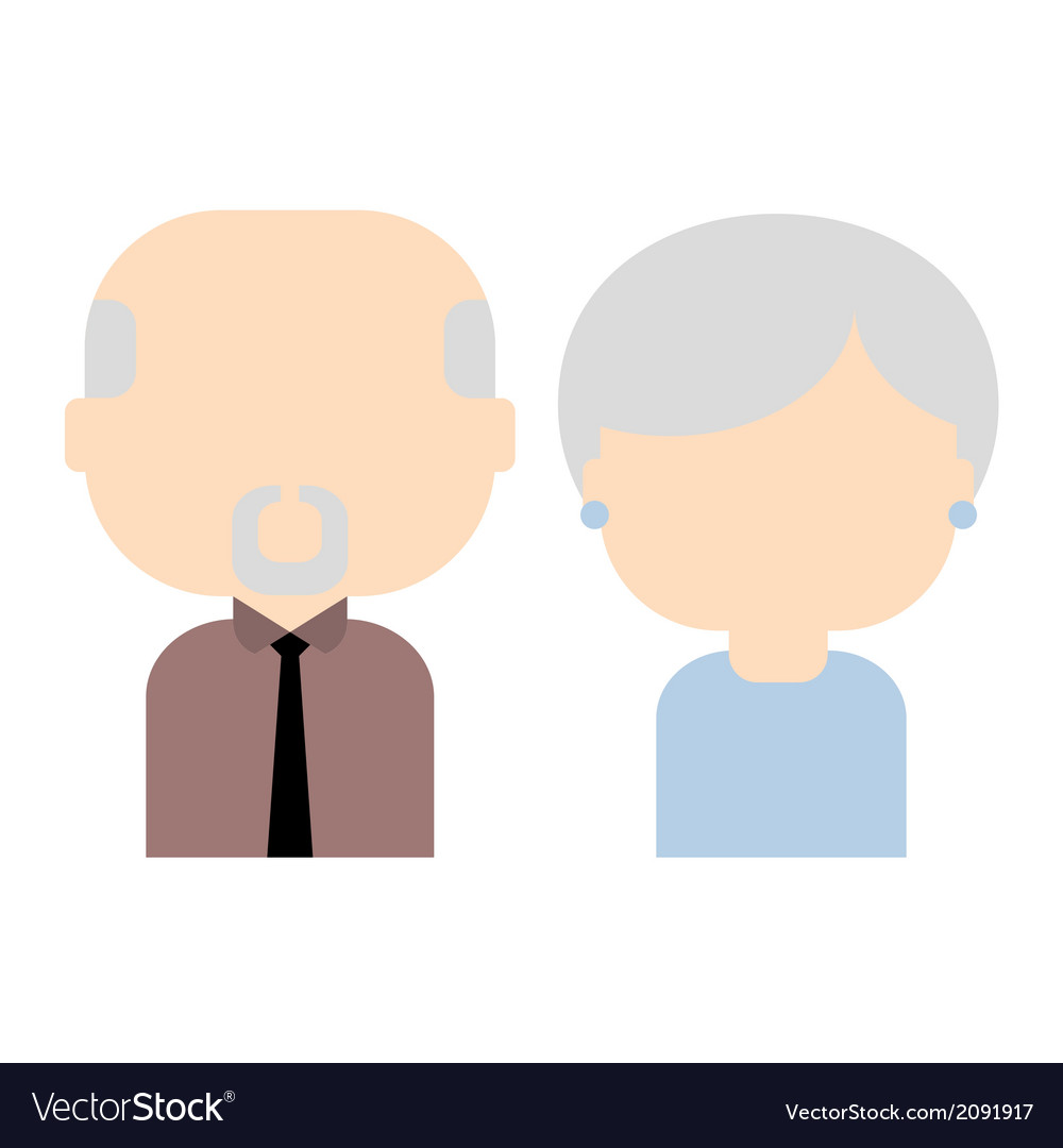 Happy old couple flat vector | Price: 1 Credit (USD $1)