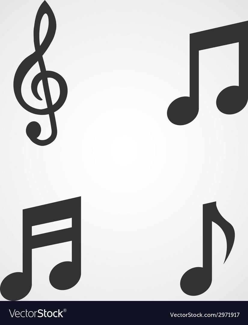 Music notes icons set flat design vector | Price: 1 Credit (USD $1)