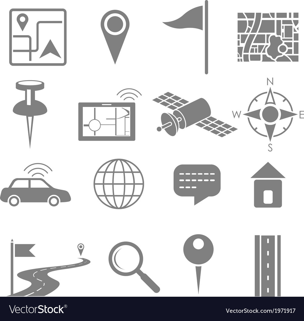 Navigation icon set for gps application vector | Price: 1 Credit (USD $1)