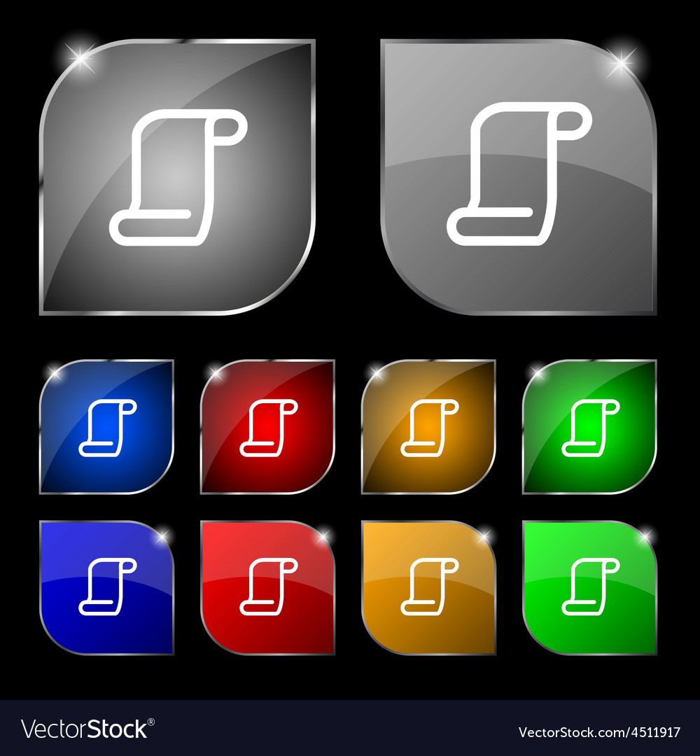 Paper scroll icon sign set of ten colorful buttons vector   Price: 1 Credit (USD $1)