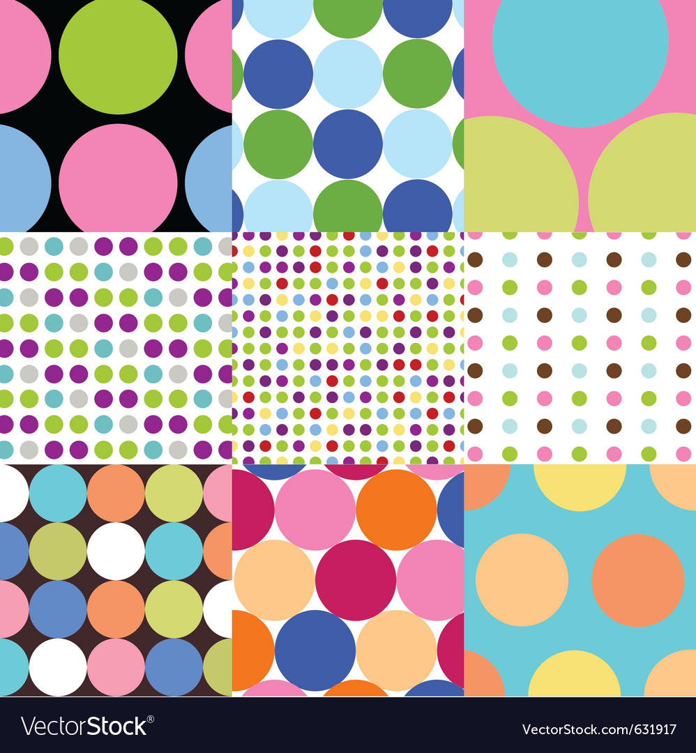 Seamless patterns - polka dot set vector | Price: 1 Credit (USD $1)