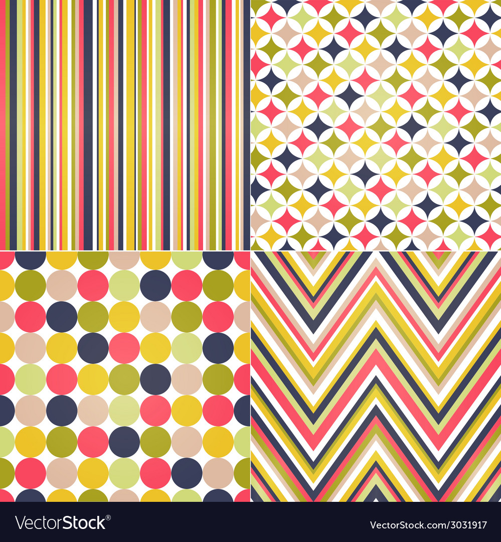 Seamless stripes zig zag and polka dots vector | Price: 1 Credit (USD $1)