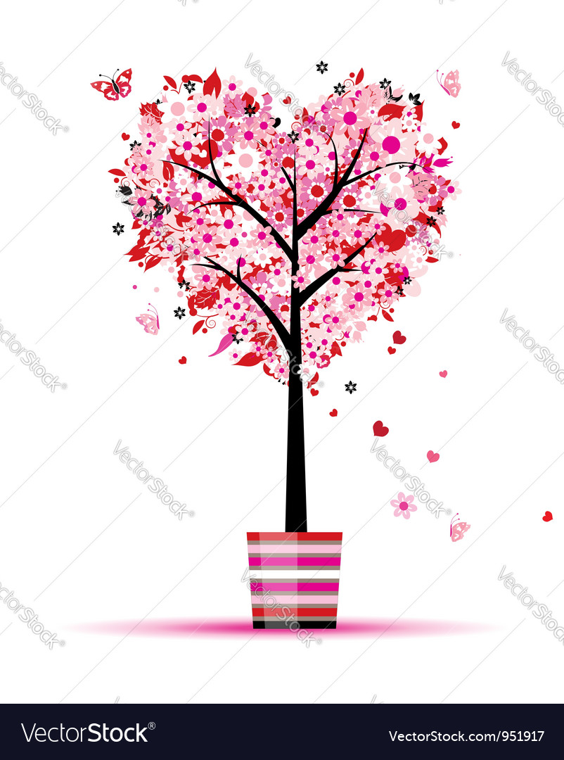 Summer floral tree heart shape in pot vector | Price: 1 Credit (USD $1)