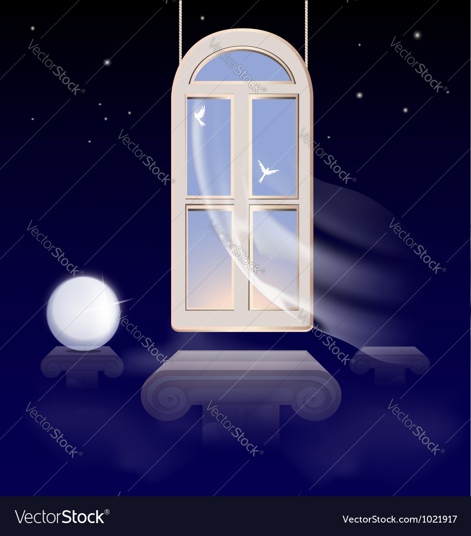 Window in the morning sky vector | Price: 1 Credit (USD $1)