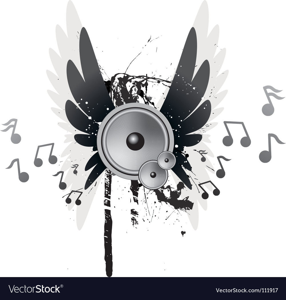 Winged speakers vector | Price: 1 Credit (USD $1)
