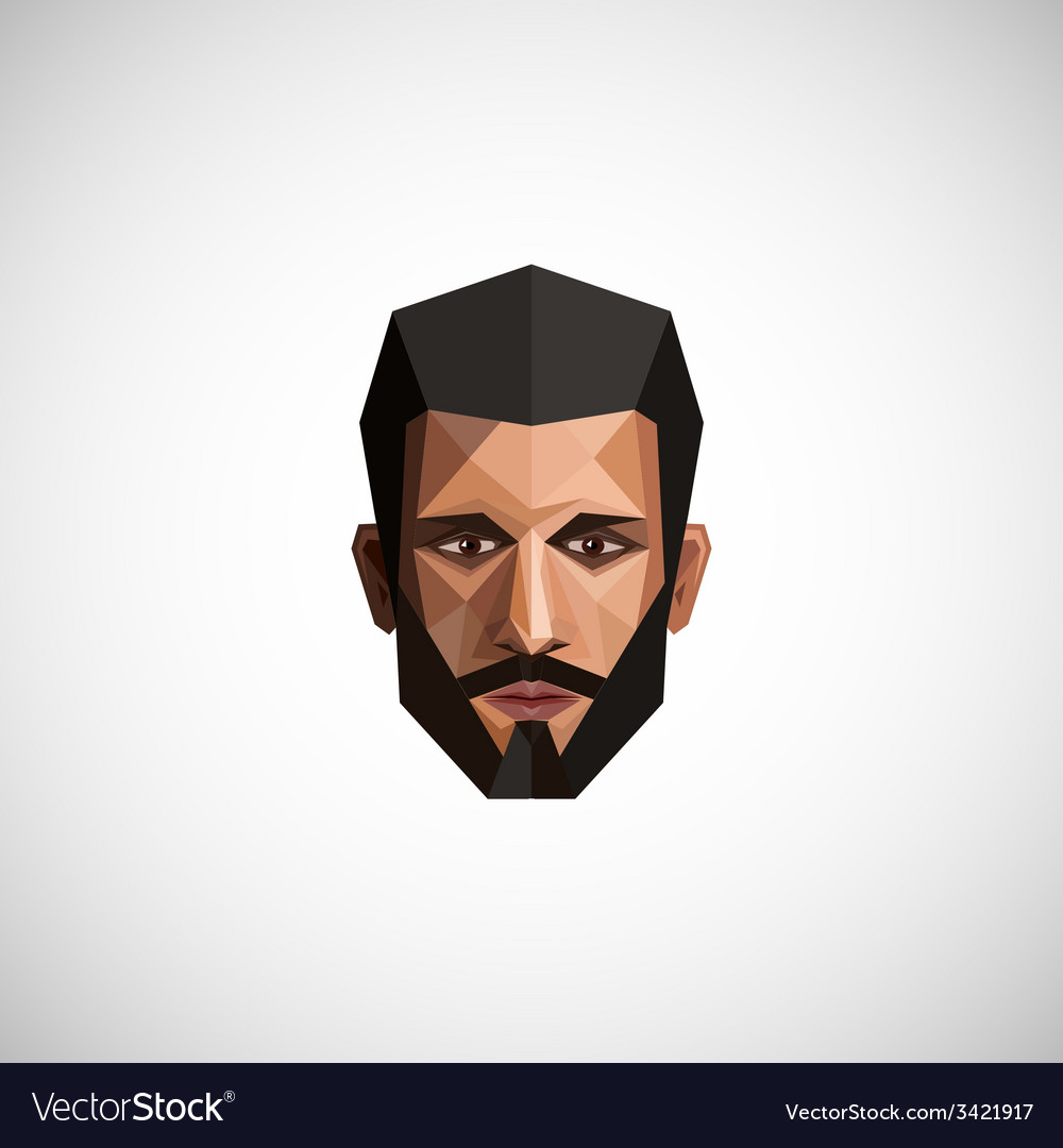 With a male face in origami style vector | Price: 1 Credit (USD $1)