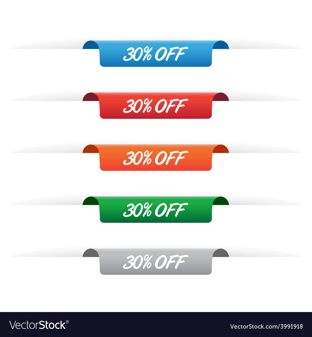 30 percent off paper tag labels vector | Price: 1 Credit (USD $1)
