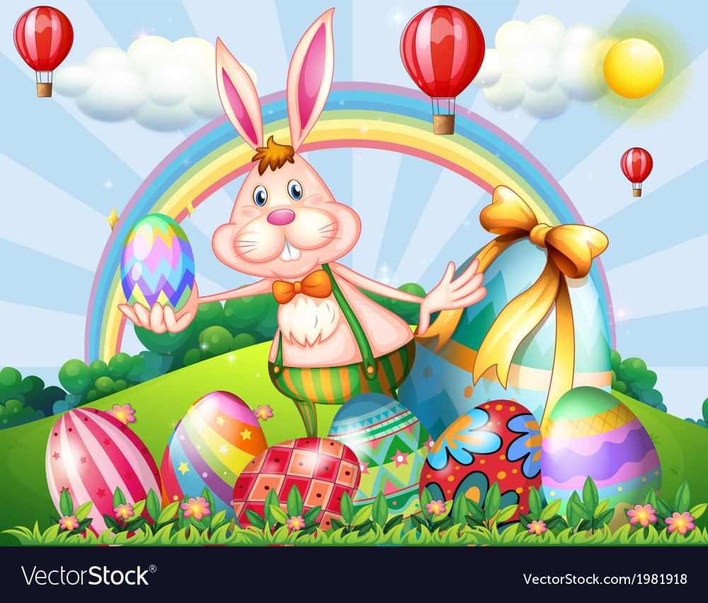 A bunny at the hilltop with easter eggs vector | Price: 3 Credit (USD $3)