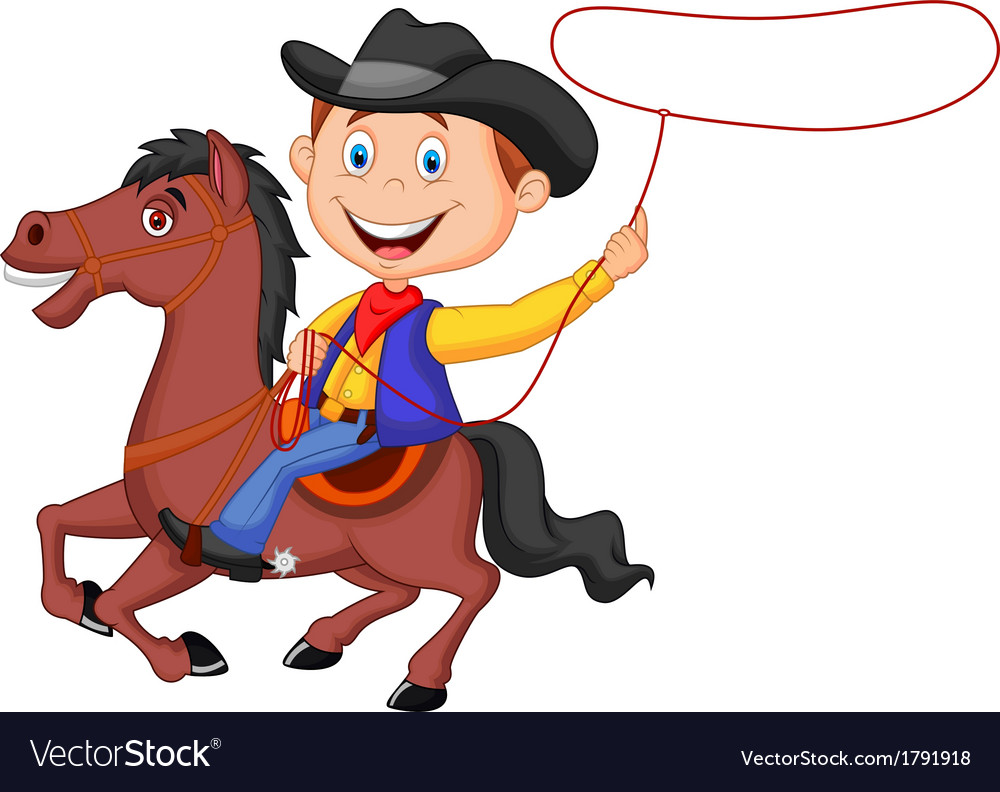 Cartoon cowboy rider on the horse throwing lasso vector | Price: 1 Credit (USD $1)