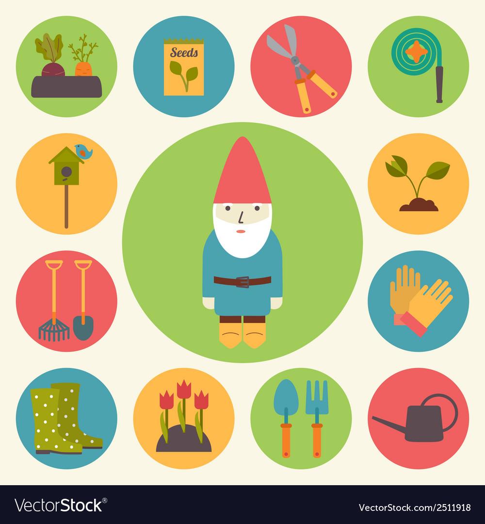 Gardening garden icons set vector | Price: 1 Credit (USD $1)