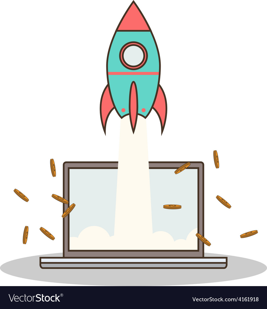Isolated cartoon rocket and laptop online start up vector | Price: 1 Credit (USD $1)