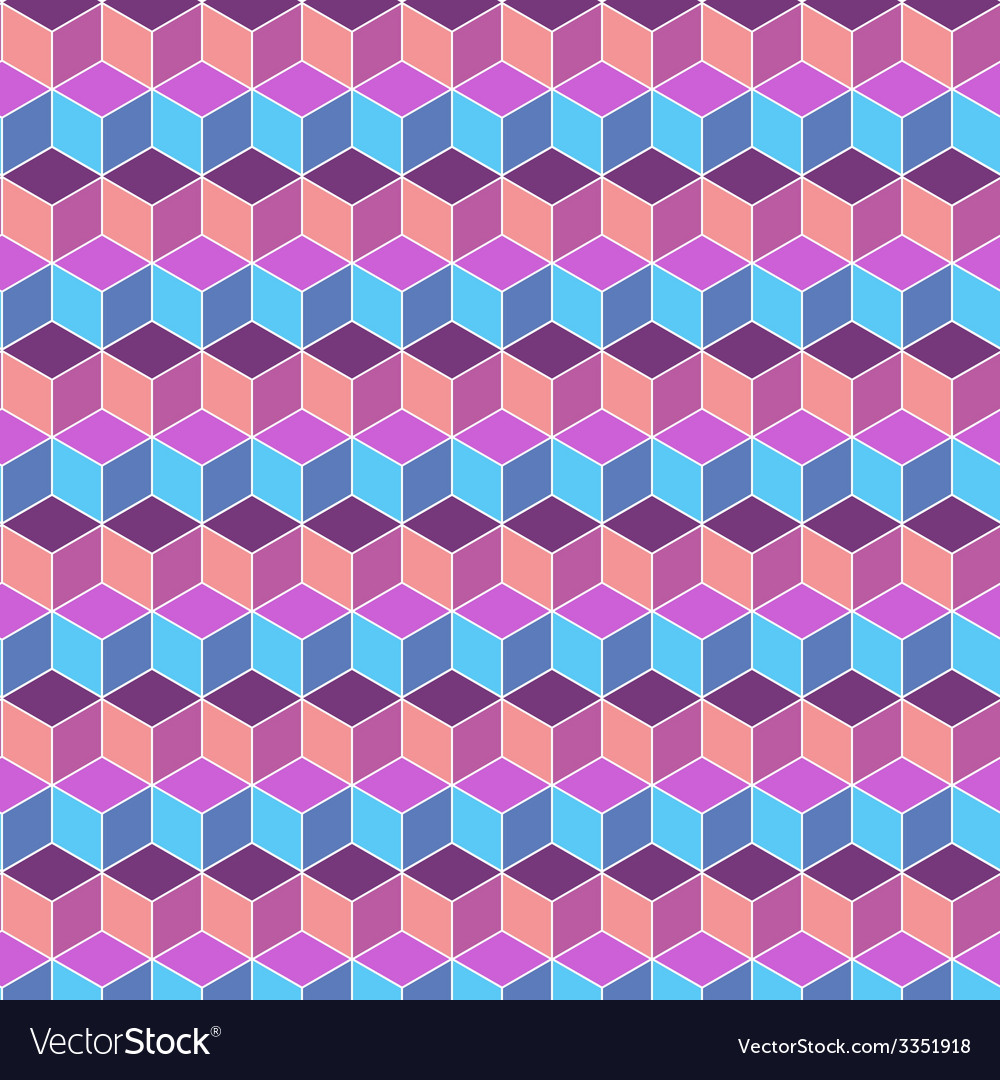 Seamless cube flat color background vector | Price: 1 Credit (USD $1)