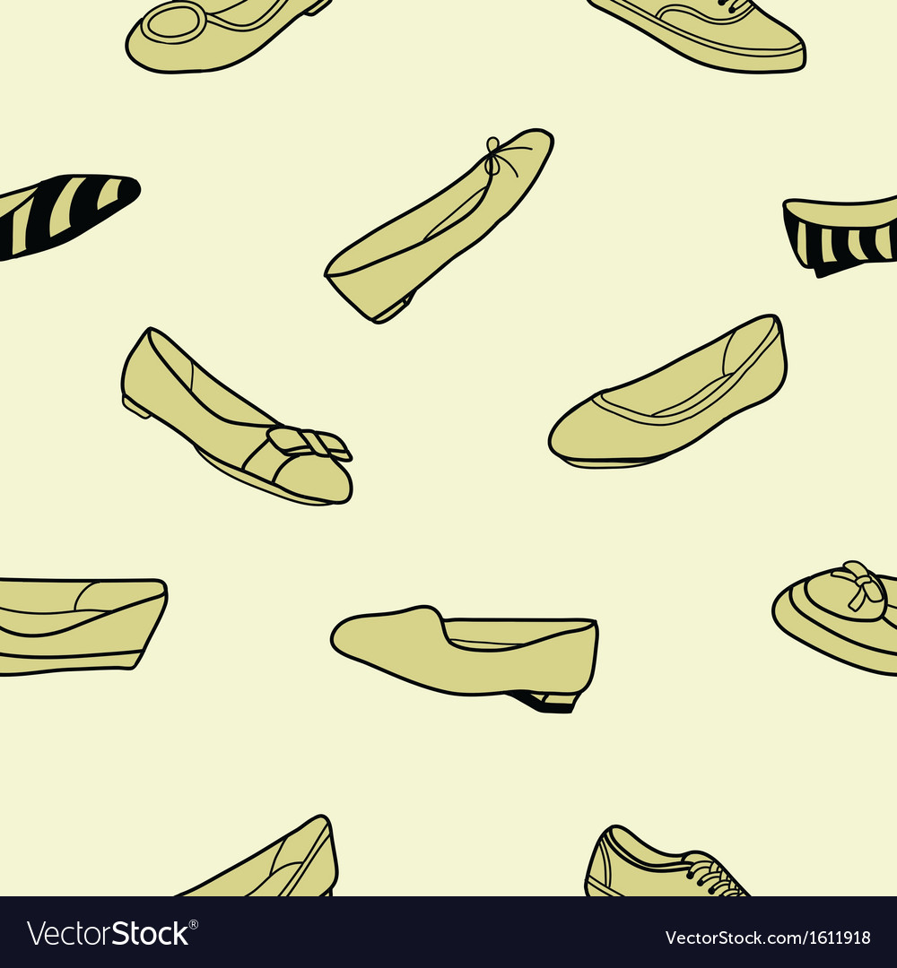 Seamless of female flat shoes vector | Price: 1 Credit (USD $1)