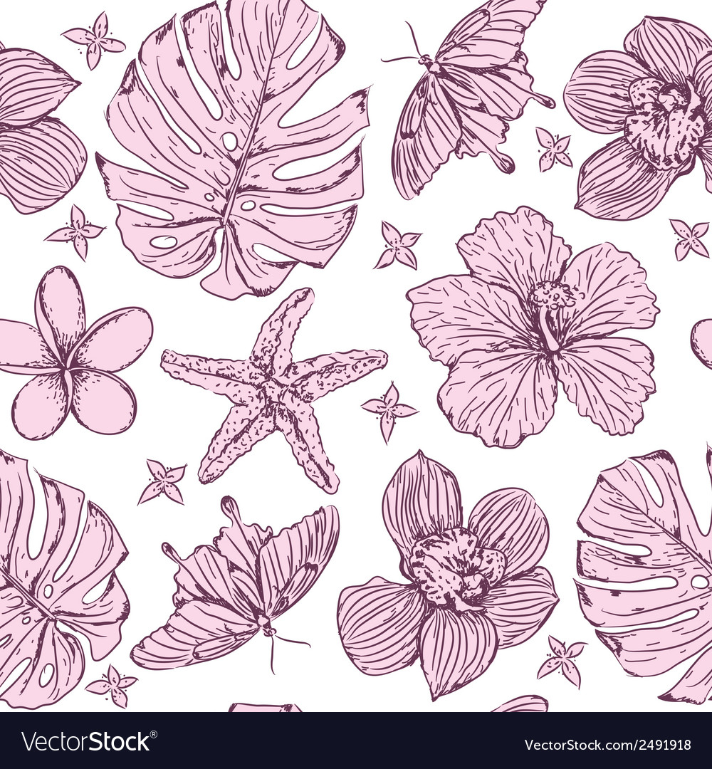 Seamless pattern tropical flowers vector | Price: 1 Credit (USD $1)